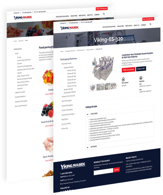 Viking Masek website pages