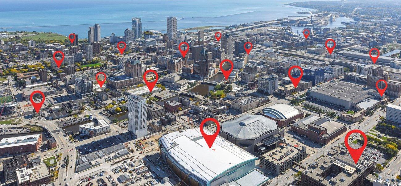Arial photo of Milwaukee with red markers