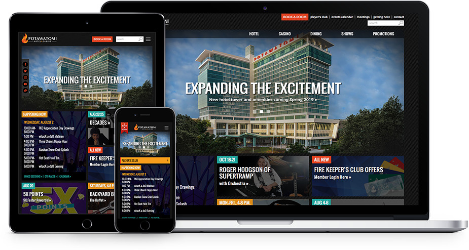 Potawatomi hotel and casino social media events on multiple devices