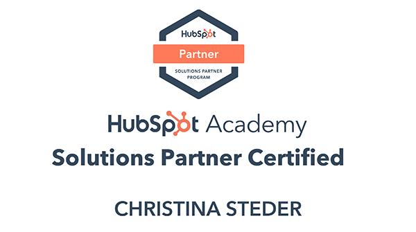 HubSpot Academy Solutions Partner Certified - Christina Steder