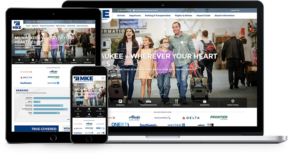 General Mitchell airport website and marketing on mobile