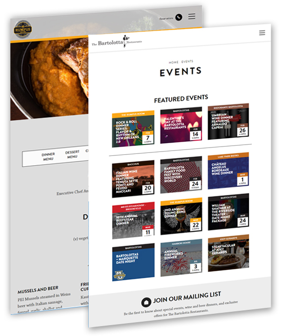 Restaurant SEO and PPC for events and menus