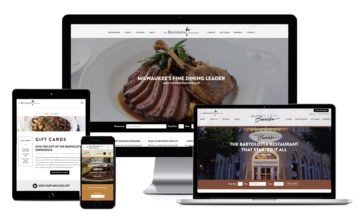 Device screens for Bartolotta's Restaurant SEO, PPC and Marketing