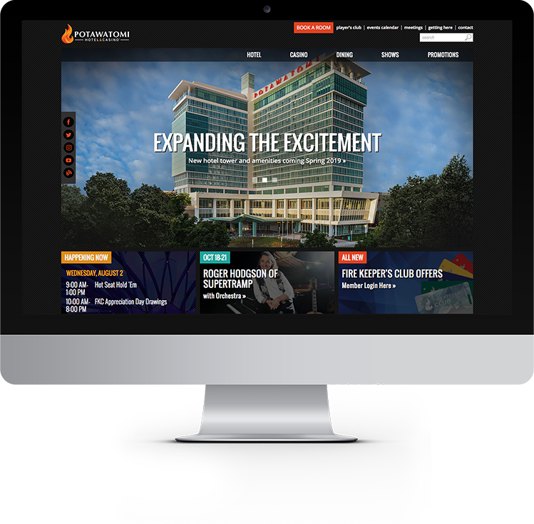 Computer Screen with website for Potawatomi Hotel and Casino