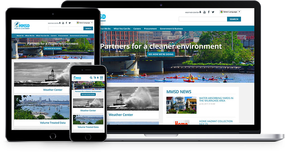 Milwaukee Metropolitan Sewerage District website on various devices