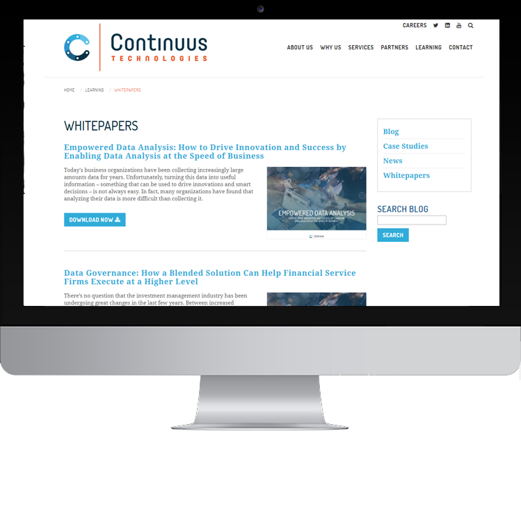 Continuus Technologies Website on computer screen