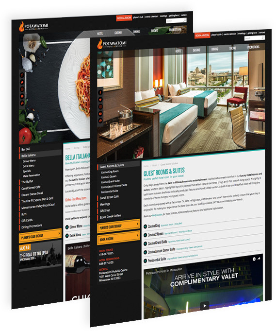 Webpages for Potawatomi Hotel & Casino