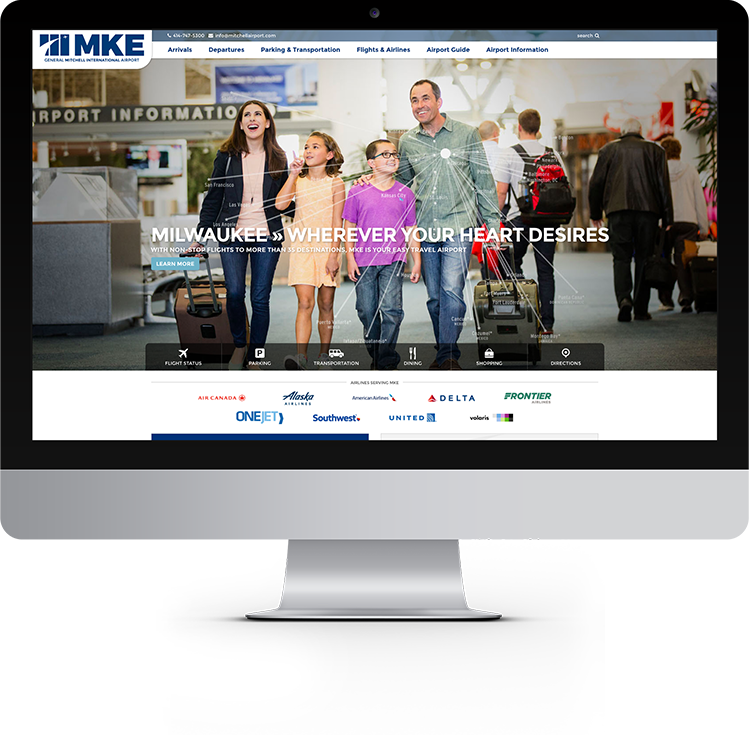 Mitchell International Airport website design